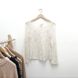 LA Hearts Lace Bell Sleeve Top Sheer Size Small